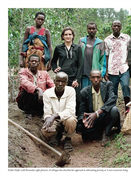 Esther Duflo with Rwandan Coffee Farmers