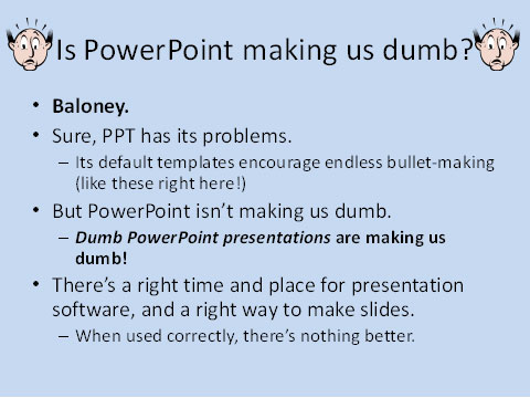 Slide Illustrating Bad Features of PowerPoint