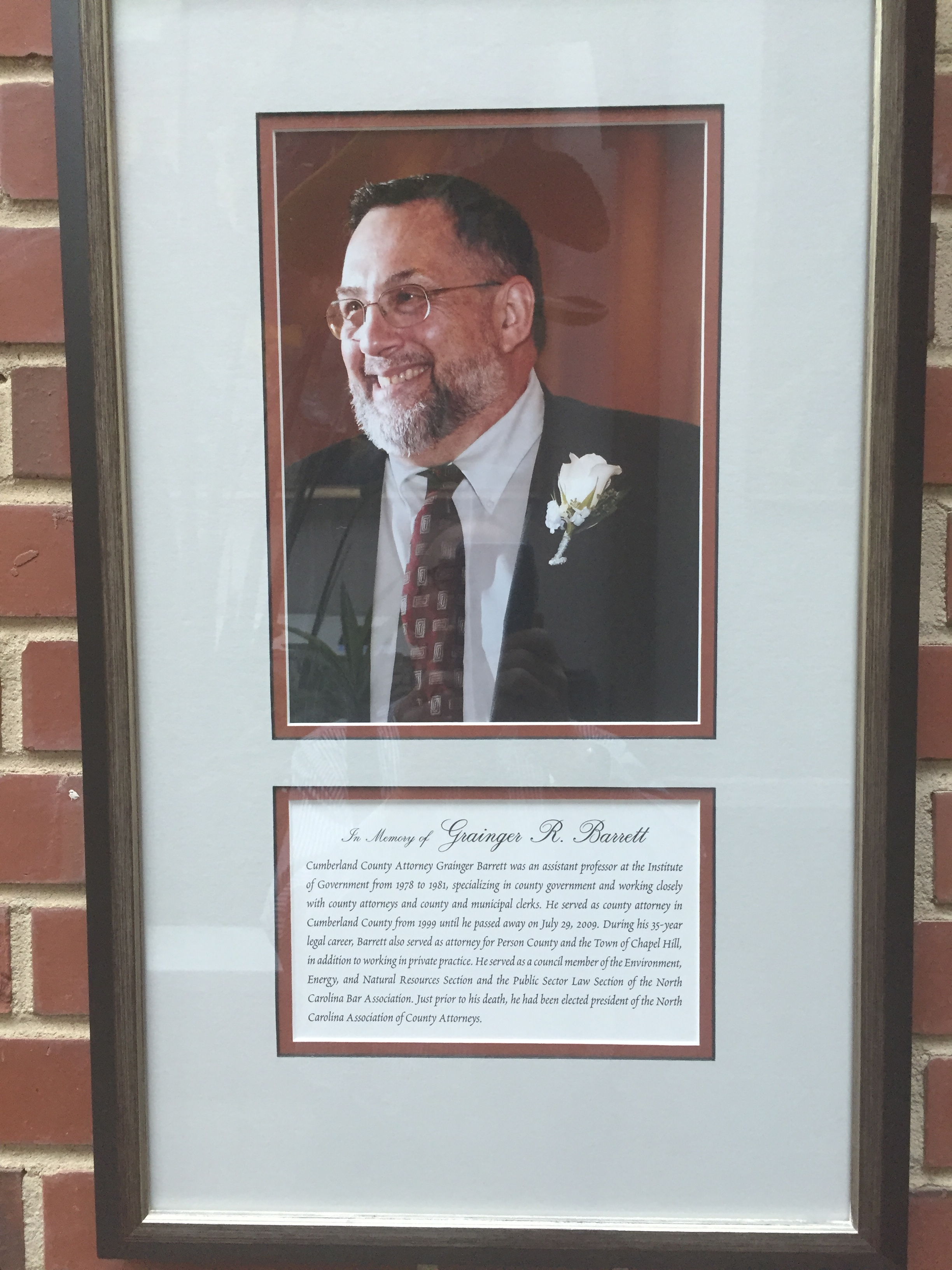Memorial Honoring Grainger Barrett in Atrium